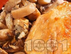 Печена агнешка плешка с гъби и синьо сирене на фурна - снимка на рецептата